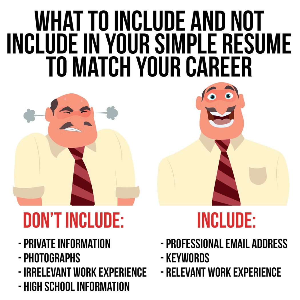what to include and not include in your simple resume to match your