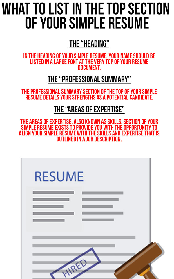 what to list in the top section of your simple resume simple