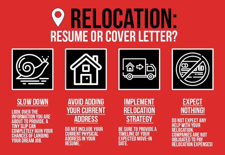 Infographic Summarizing Relocation Tips For Simple Resume And Cover Letter Writing